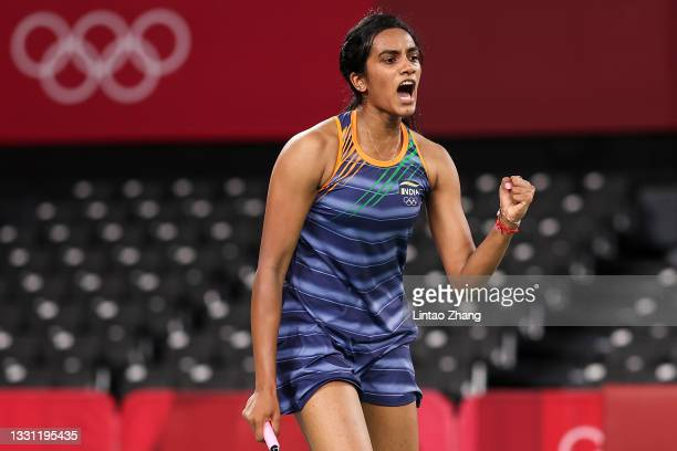 Pusarla V. Sindhu of Team India reacts as she competes against Mia Blichfeldt of Team Denmark during a Women's Singles Round of 16 match on day six...