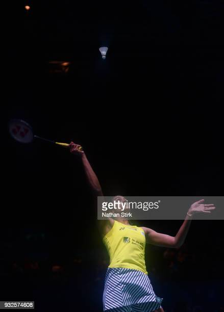Pusarla Venkata Sindhu of India competes against Nozomi Okuhara of Japan on day two of the Yonex All England Open Badminton Championships at Arena...
