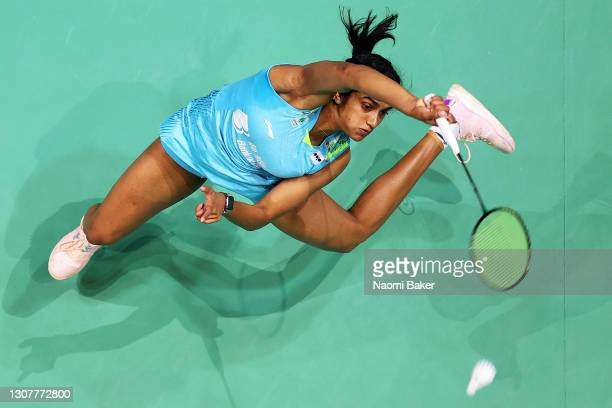 Pusarla Venkata Sindhu returns a shot during her round 16 match against Line Christophersen during day two of YONEX All England Open Badminton...