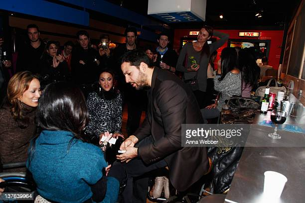 Push Girls Angela Rockwood and Auti Angel and illusionist David Blaine attend the Sundance Channel Party at 268 Main St on January 23 2012 in Park...