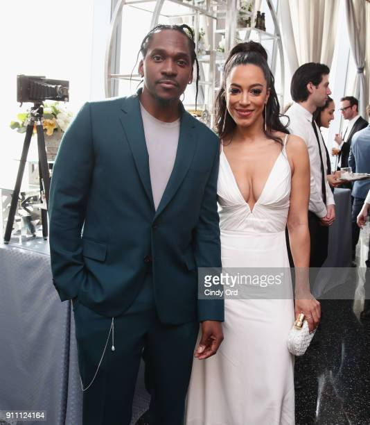 Pusha T and Angela Rye attend Roc Nation THE BRUNCH at One World Observatory on January 27 2018 in New York City