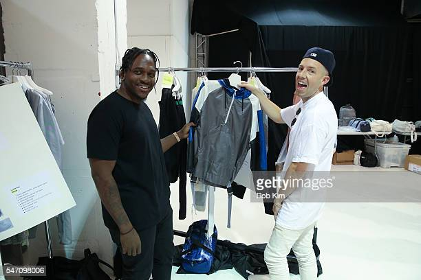 Pusha T and designer John Elliott backstage at the John Elliott fashion presentation during New York Fashion Week: Men's S/S 2017 at Skylight...