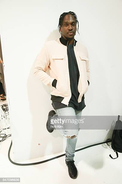 Pusha T appears backstage at the John Elliott fashion presentation during New York Fashion Week: Men's S/S 2017 at Skylight Clarkson Sq on July 13,...