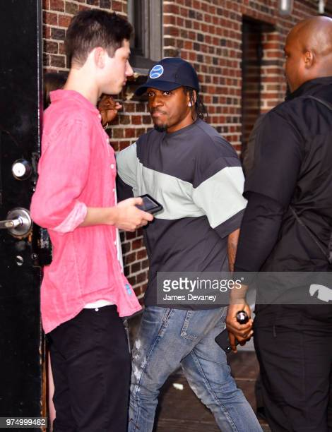 Pusha T arrives to 'The Late Show With Stephen Colbert' at the Ed Sullivan Theater on June 14 2018 in New York City