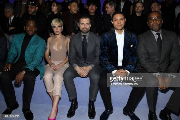 Pusha T Halsey Sebastian Stan Trevor Noah and Lee Daniels attend the Tom Ford Fall/Winter 2018 Men's Runway Show at the Park Avenue Armory on...