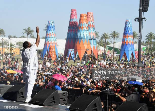 Pusha T performs at Coachella Stage during the 2019 Coachella Valley Music And Arts Festival on April 21 2019 in Indio California