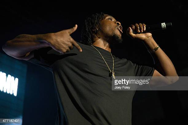 Pusha T performs live onstage in concert as he opens for 2 Chainz during the 2 Good To Be T.R.U. Tour in The Egyptian Room at Old National Centre on...