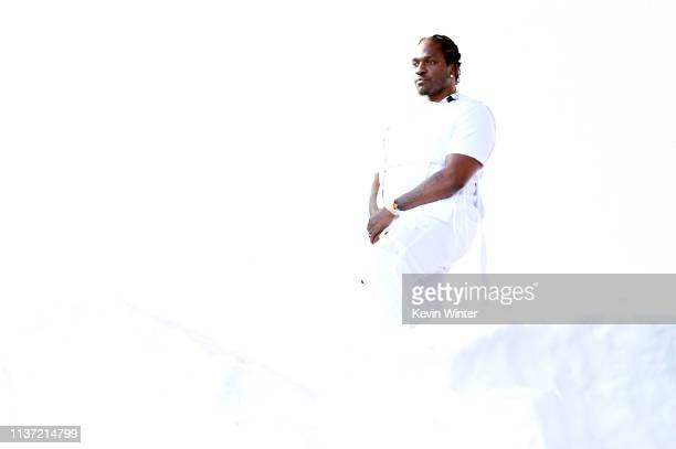 Pusha T performs on Coachella Stage during the 2019 Coachella Valley Music And Arts Festival on April 14 2019 in Indio California