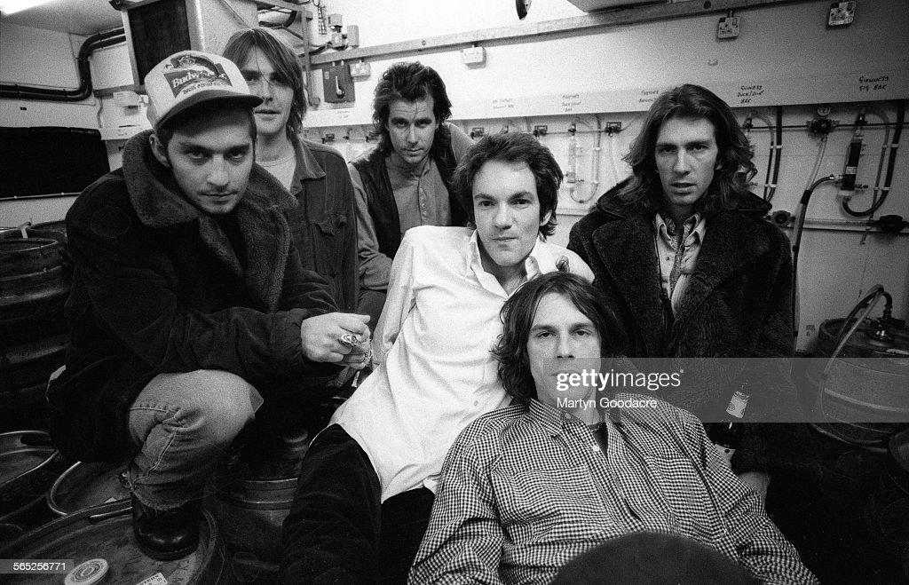 Pusherman, group portrait, London, United Kingdom, 1995. Line up includes Andy Frank, Meredith 'Yank' Reid, Bo Ellery, Martin Hoyland, Tony Antoniou and Harry Harrison.