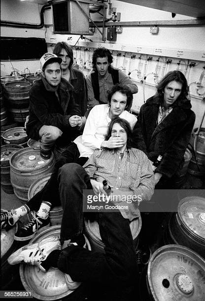 Pusherman group portrait London United Kingdom 1995 Line up includes Andy Frank Meredith 'Yank' Reid Bo Ellery Martin Hoyland Tony Antoniou and Harry...
