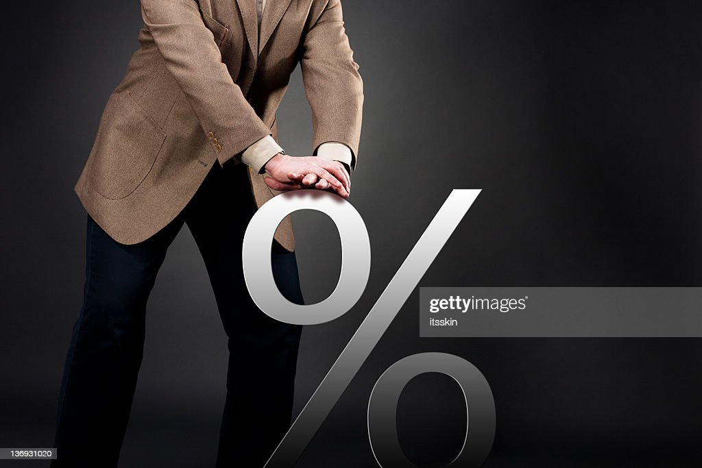 Pushing down interest rate : Stock Photo