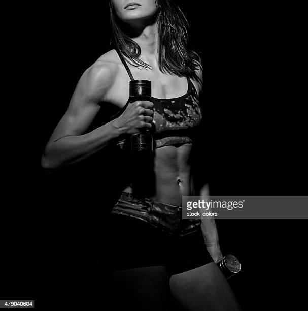 empurrar difícil ficar em forma - silhueta de corpo feminino preto e branco - fotografias e filmes do acervo