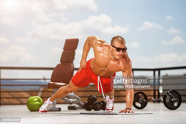 push-ups - body building stock photos and pictures