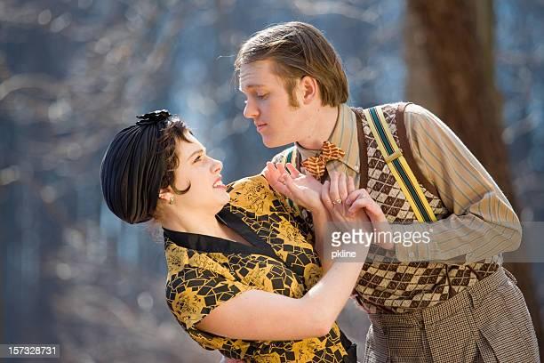 Pushy guy tries to kiss a lady