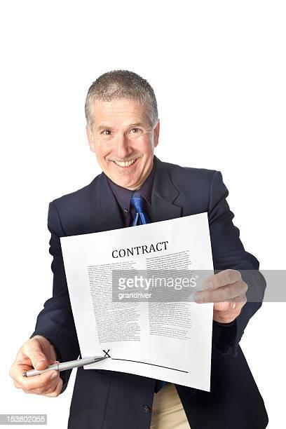 Pushy Verkäufer mit Vertrag, isoliert auf weiss