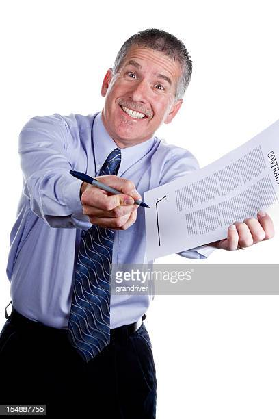 pushy salesman with contract isolated on white - bossy stock pictures, royalty-free photos & images
