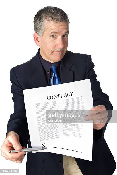 pushy salesman with contract isolated on white - con man stock photos and pictures