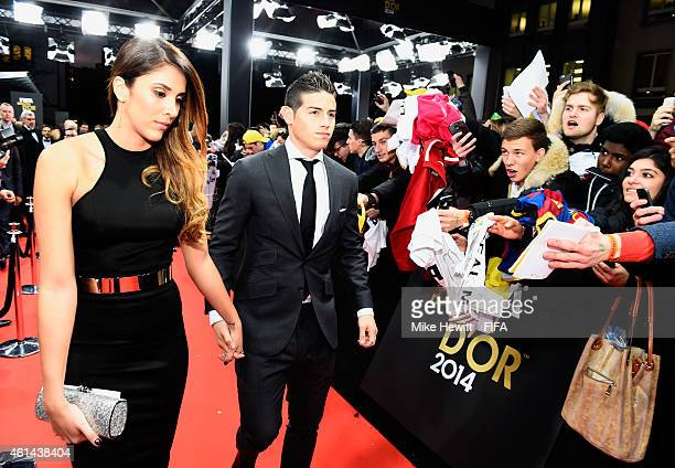 Puskas Award nominee James Rodriguez of Colombia and Real Madrid and wife Daniela Ospina arrive at the FIFA Ballon d'Or Gala 2014 at the Kongresshaus...