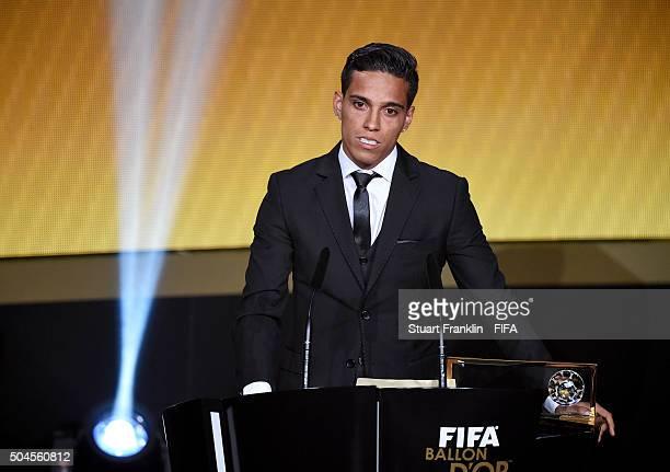 Puskas Award winner Wendell Lira of Brazil and Vila Nova accepts his award during the FIFA Ballon d'Or Gala 2015 at the Kongresshaus on January 11,...