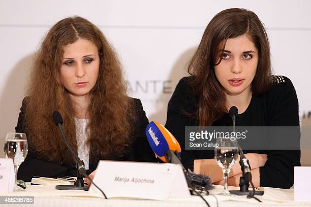 Pussy Riot members Nadezhda Tolokonnikova and Maria Alyokhina speak at the Cinema for Peace 2014 press conference at the Regent Hotel on February 10...