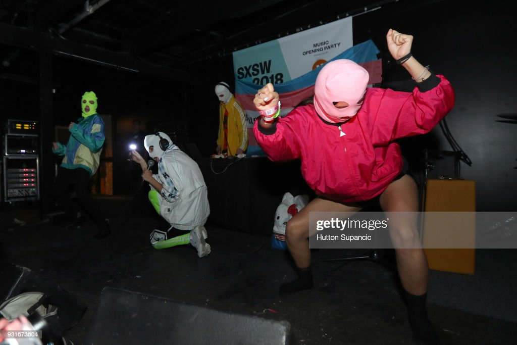 Pussy Riot performs onstage at the Music Opening Party during SXSW at The Main on March 13, 2018 in Austin, Texas.