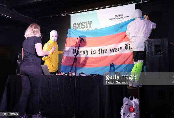 Pussy Riot sets up onstage at the Music Opening Party during SXSW at The Main on March 13 2018 in Austin Texas