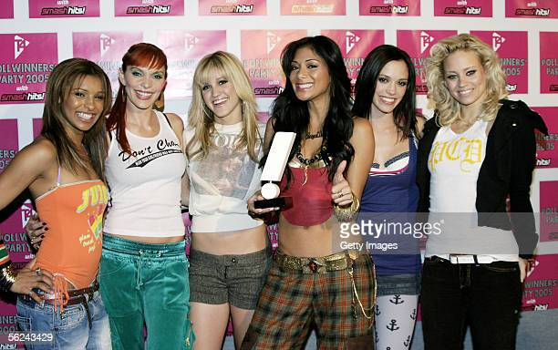 Pussycat Dolls Melody Thornton Carmit Bachar Ashley Roberts Nicole Scherzinger Jessica Sutta and Kimberly Wyatt pose in the press room with the award...