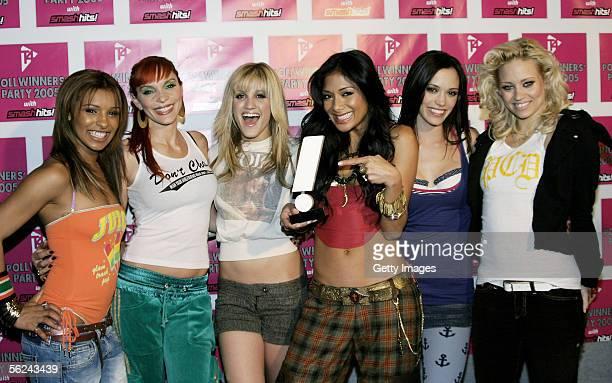 Pussycat Dolls Melody Thornton, Carmit Bachar, Ashley Roberts, Nicole Scherzinger, Jessica Sutta and Kimberly Wyatt pose in the press room with the...