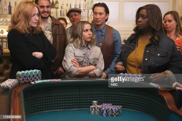 """Put It All On Two"""" Episode 411 -- Pictured: Christina Hendricks as Beth Boland, Mae Whitman as Annie Marks, Retta as Rubby Hill --"""