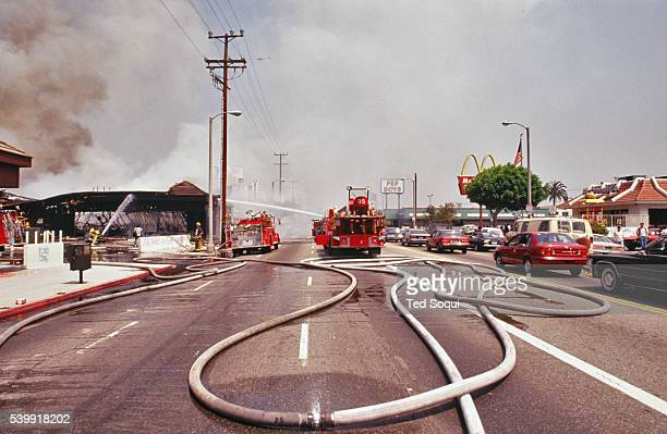 LAFD put out fires caused by rioters in South Central Los Angeles Los Angeles has undergone several days of rioting due to the acquittal of the LAPD...