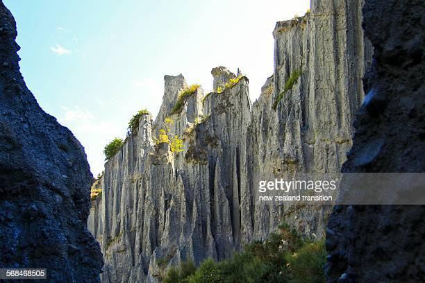 putangirua pinnacles in haurangi forest park - felsspitze stock-fotos und bilder