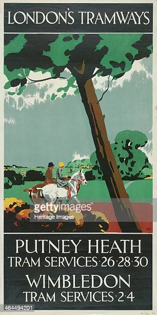 'Putney Heath Wimbledon' London County Council Tramways poster 1927 Showing a man and a woman riding horses on the Heath