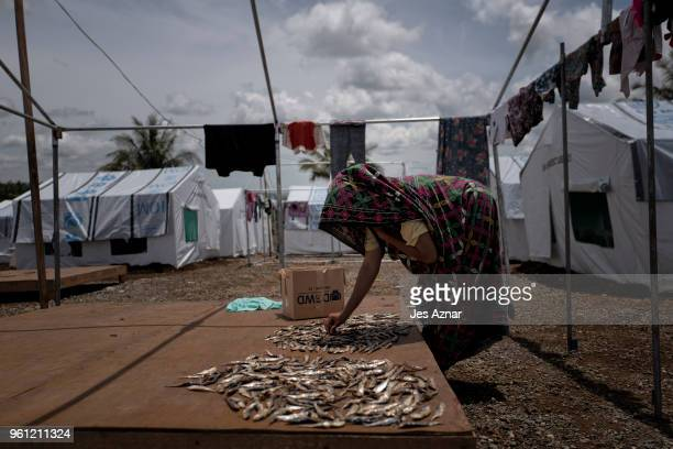 Putre Ali laying out fish to dry in front of their shelter inside the Sarimanok tent city on May 16 2018 in Marawi Philippines Putre is the mother of...