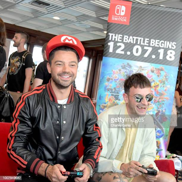 puts his gaming skills to the test playing Mario Kart 8 Deluxe on Nintendo Switch at the Variety Studio at ComicCon 2018 on July 20 2018 in San Diego...