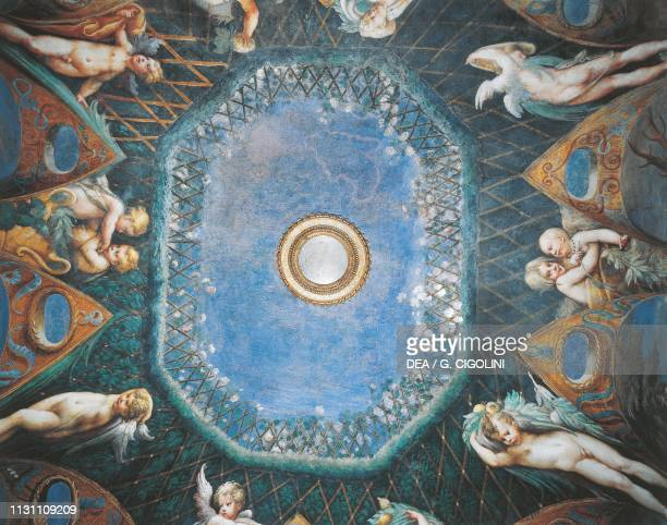 Putti and a glimpse of the sky Myth of Diana and Actaeon ca 1524 by Francesco Mazzola known as Parmigianino fresco west side of the Room of Diana and...