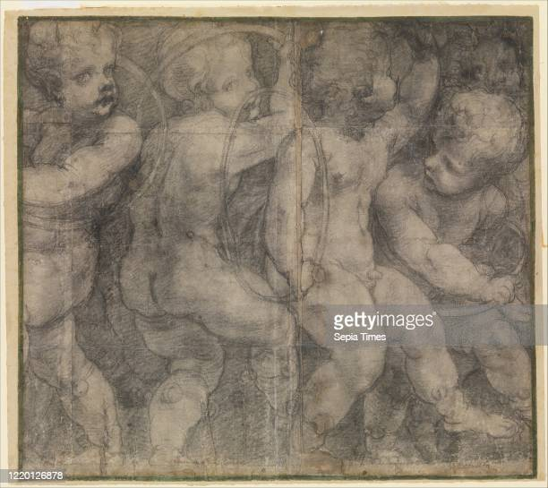 Putti Playing with Hoops . Circa 1548. Black chalk. Outlines pricked for transfer. Sheet: 22 _ 24 13/16 in. . Drawings. Michelangelo Anselmi . In...