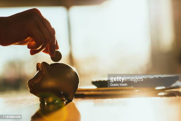 putting a coin in a gold colored piggy bank at home. - geld stock-fotos und bilder