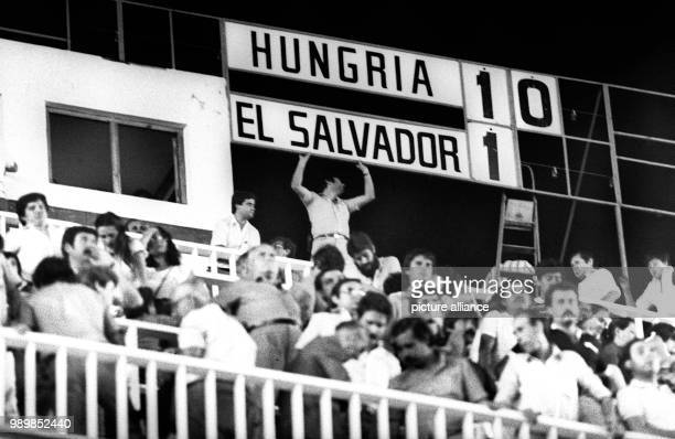 Putting a nill behind the one on the scoreboard the final score Hungary wins this 1982 FIFA World Cup group match 101 against world cup debutant El...