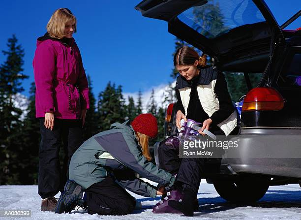 Putting on Ski Boots