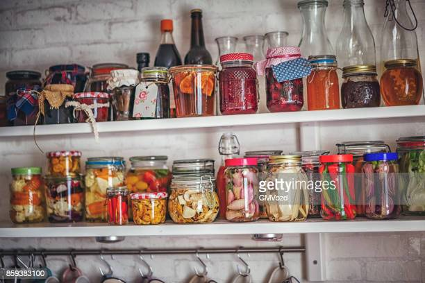 Putting on the Shelf Homemade Preserved Vegetables in Jars