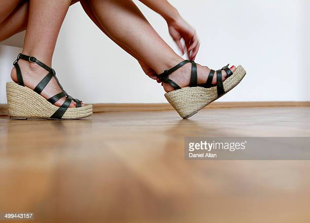 Putting shoes on