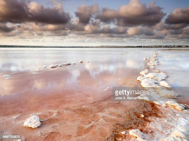 putting sun of orange color, in a lagoon of salty water, with his covered shores of textures and forms of salt,  in salt mines of torrevieja, (valencian community), spain. - acidente em mina - fotografias e filmes do acervo
