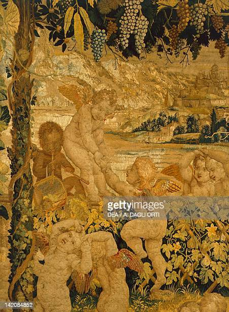 Putti's Dance 16th century tapestry by Flemish weaver Nicolas Karcher based on a cartoon by Giulio Romano manufacture of Mantua or Ferrara