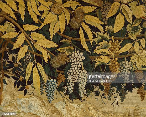 Putti's Games 16th century tapestry by Flemish weaver Nicolas Karcher based on a cartoon by Giulio Romano Detail with grapes