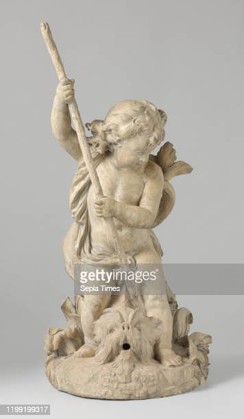 Putto with a Dolphin Putto with dolphin On a rocky bottom with water plants the putto stands with spread legs above a dorphine in which direction he...
