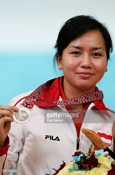 Putty Insavilla Armein of Indonesia celebrates with her Silver Medal after finishing second in yesterdays Womens Singles Bowling Competition at the...
