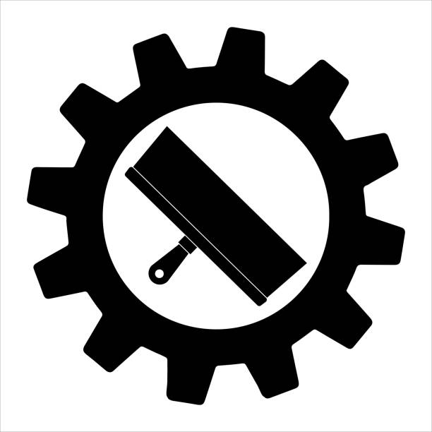 Putty knife flat icon in gear, build and repair, spatula sign vector graphics.  Simple illustration of wide spatula vector icon for web