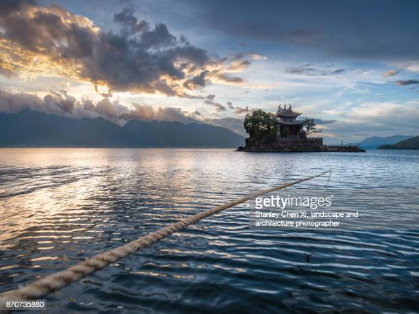 putuo temple in the lake - lough erne stock photos and pictures