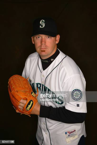 J Putz of the Seattle Mariners poses for a portrait during the Seattle Mariners Photo Day at Peoria Stadium on February 27 2005 in Peoria Arizona