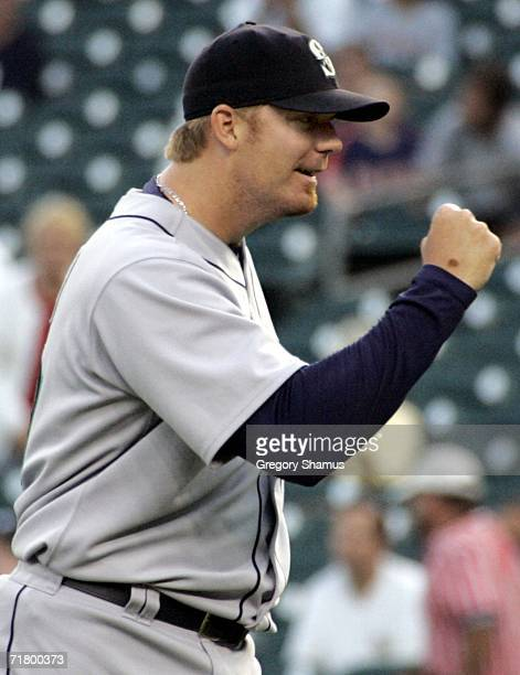 Putz of the Seattle Mariners reacts after closing out the ninth inning against the Detroit Tigers on September 6, 2006 at Comerica Park in Detroit,...